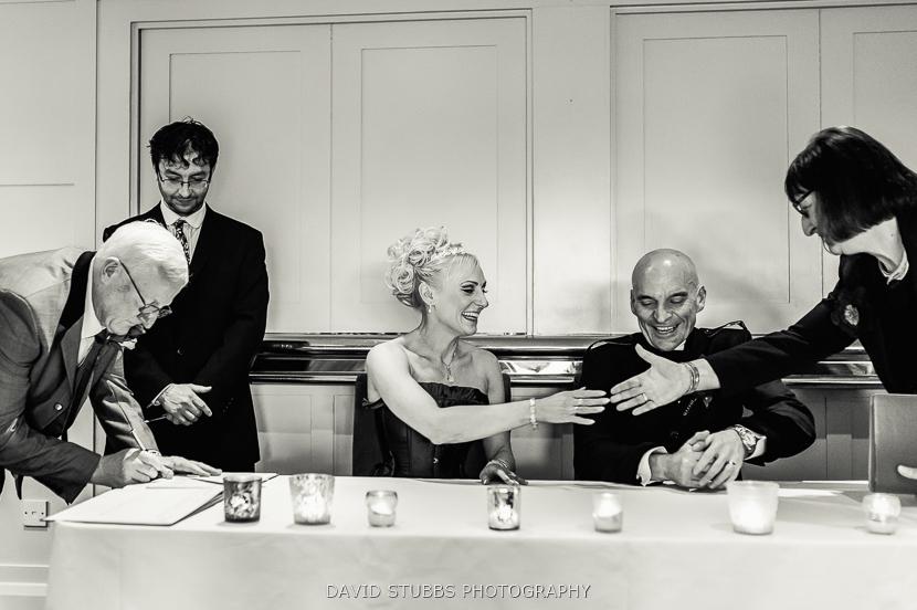 bride shaking hands