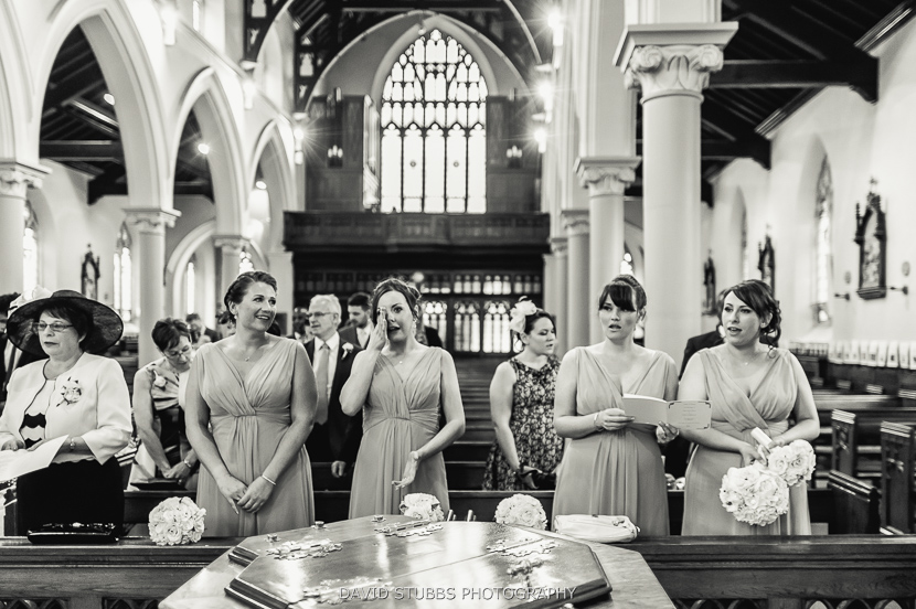 bridesmaids in church
