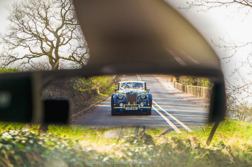 wedding car in mirror