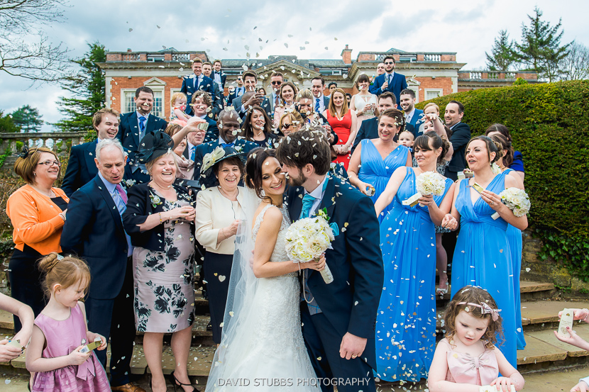 confetti thrown over couple
