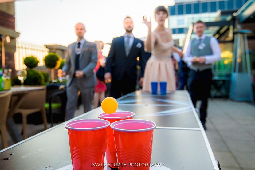 beer pong at wedding