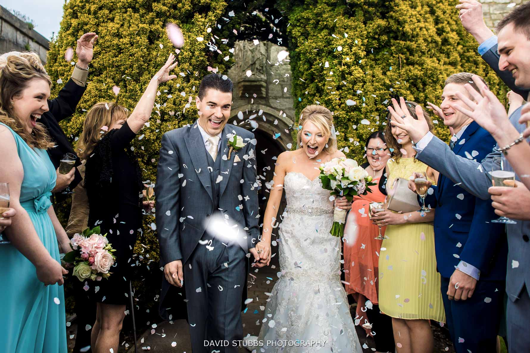 confetti throw over the newlyweds