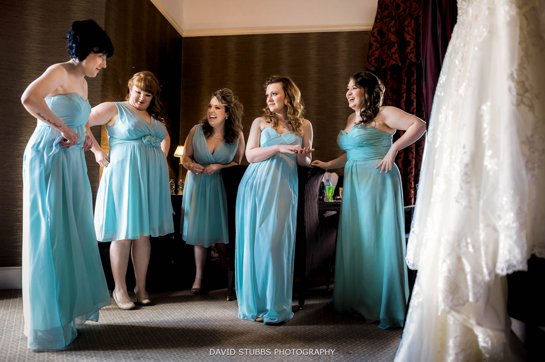 bridesmaids waiting to be called for the wedding ceremony