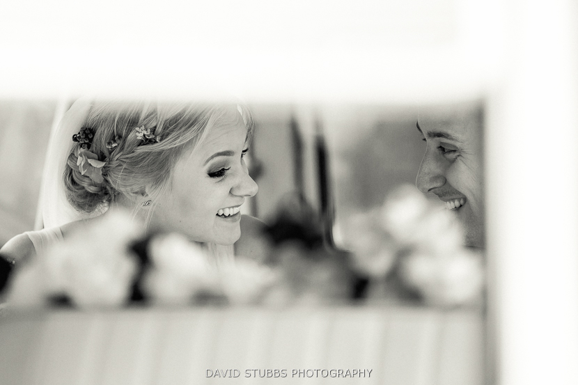 black and white photo couple in mirror
