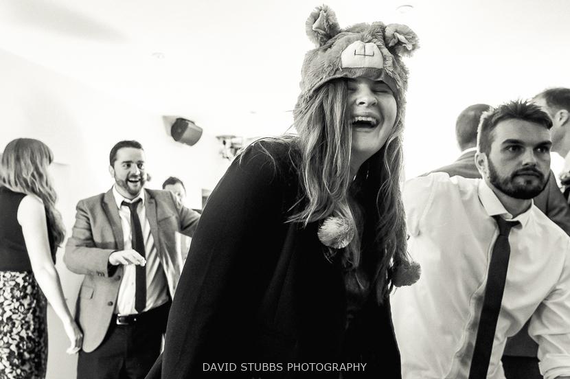 woman in bear hat