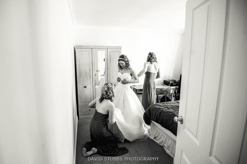 putting dress on