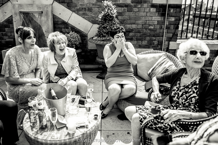 women laughing outside
