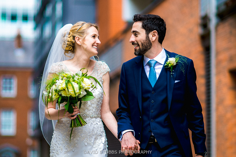 man and bride walking