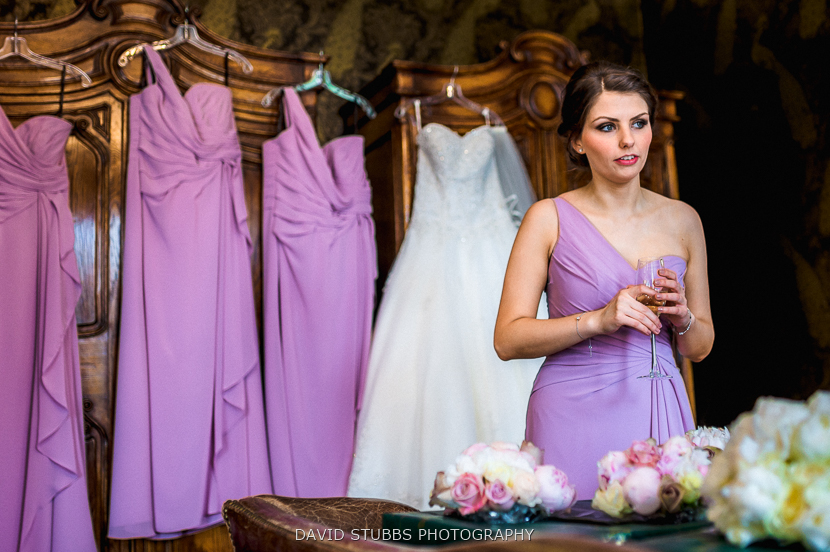bridesmaids with purple dresses