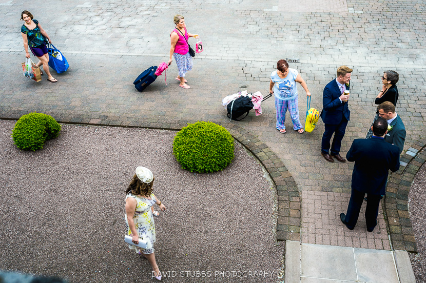 family arriving at venue