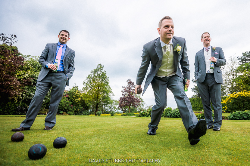 playing bowls on lawn
