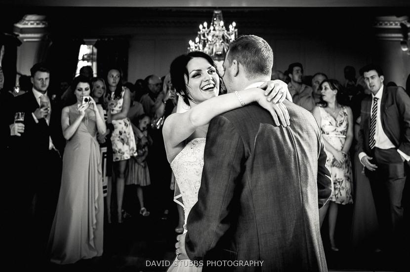 black and white photo of couple celebrating