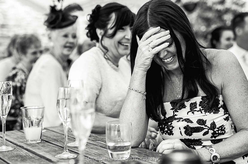 guests laughter black and white