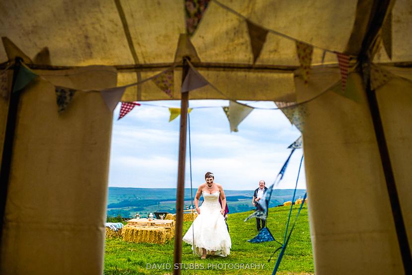 bride outside tent