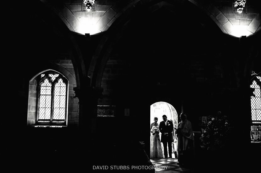 bride silhouette in door