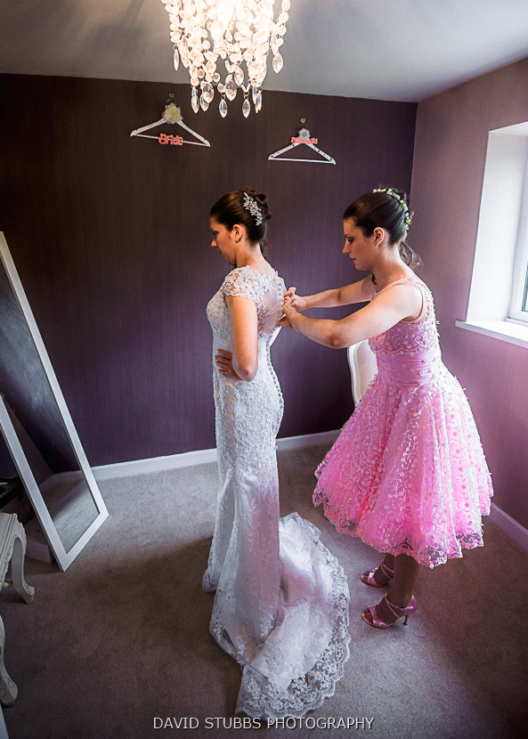 colour photo of bride prep