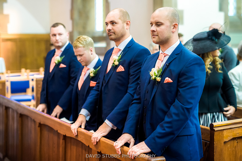 groom and friends waiting