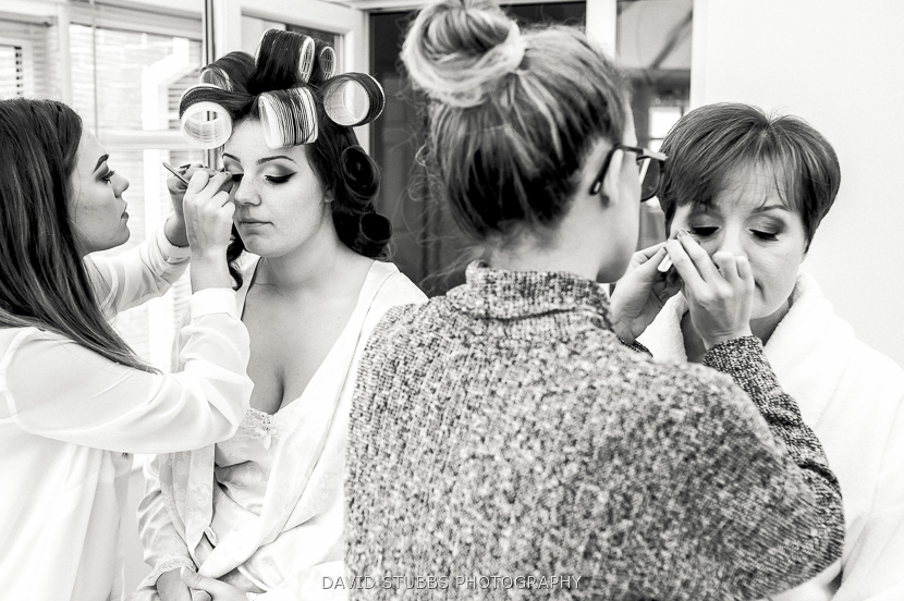 bride with curlers in