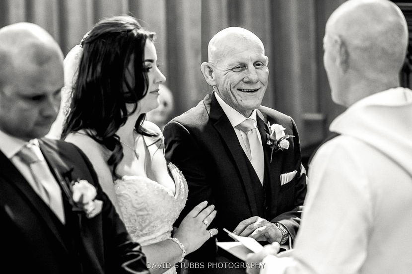 bride and dad black and white
