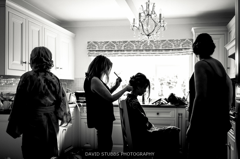 silhouette at bride prep