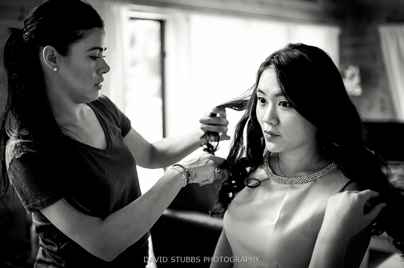 bridal party having hair done