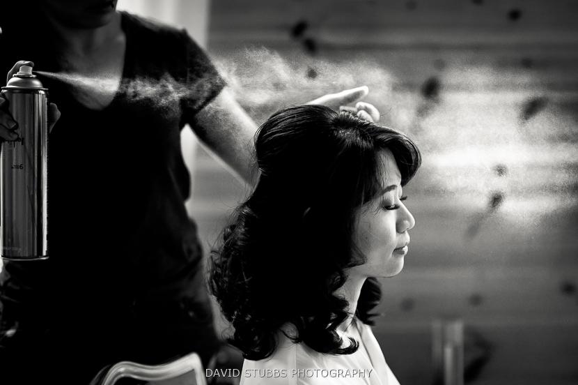 hairspray being sprayed