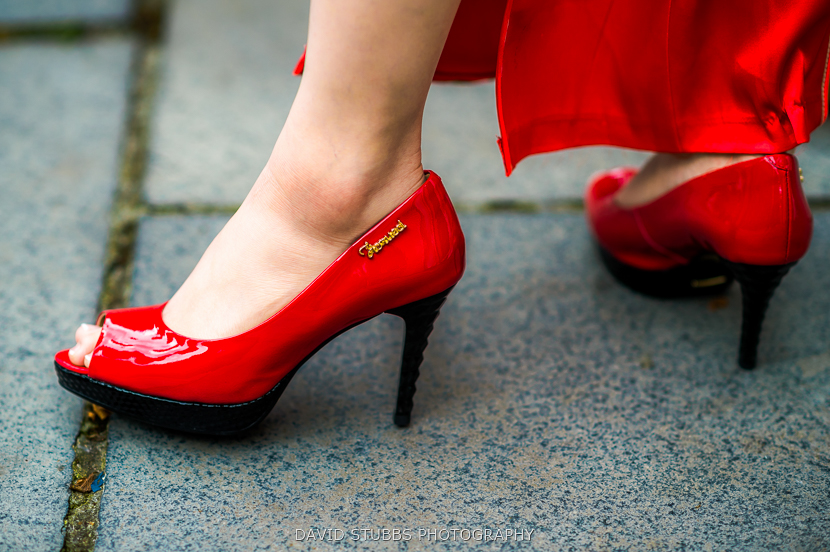 woman in red shoes