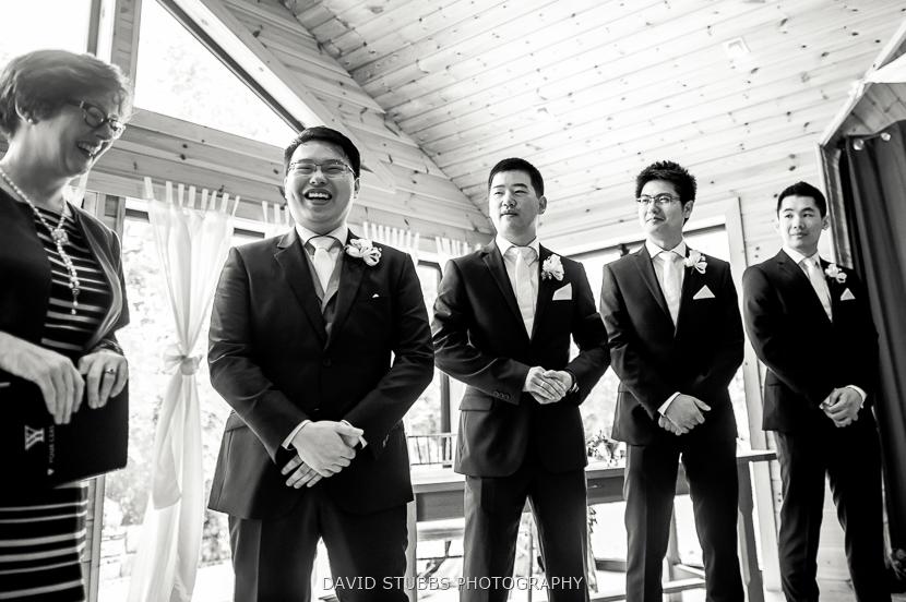 men waiting at ceremony
