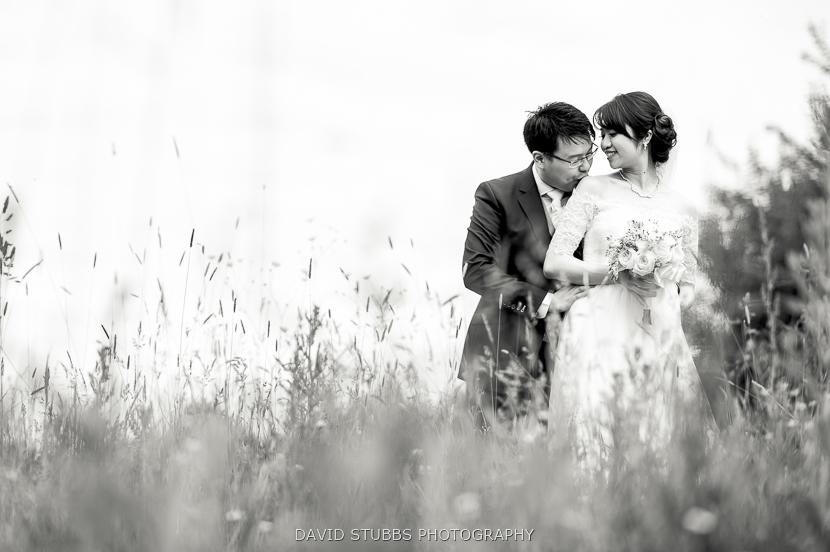 black and white portrait in grass