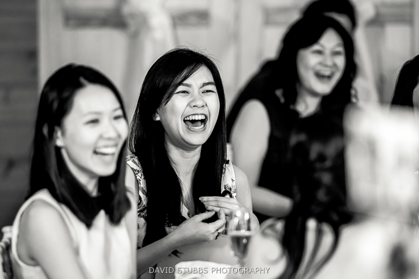 guests laughter at speech