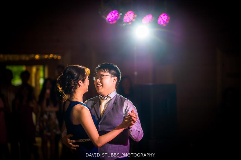 newly-weds dancing purple light