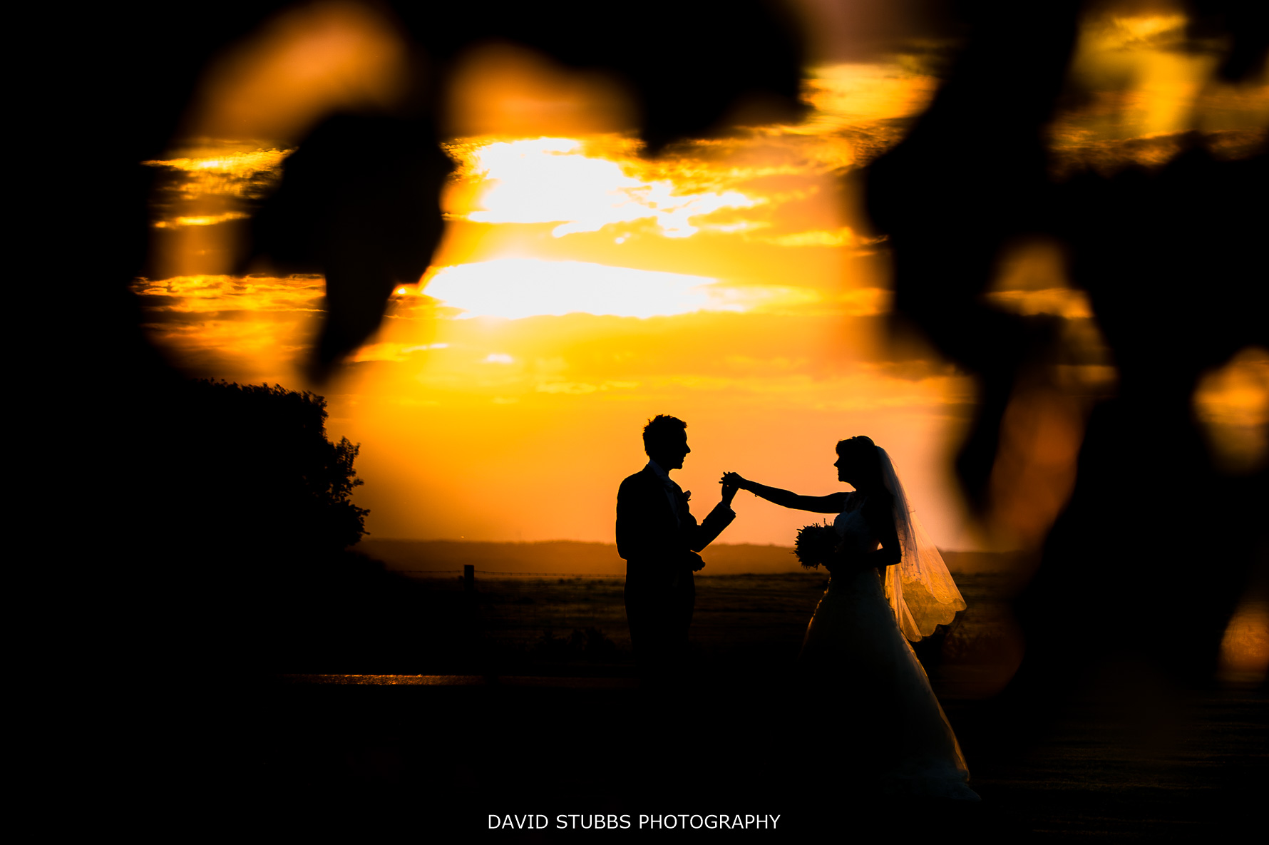sunset at Stanley house wedding