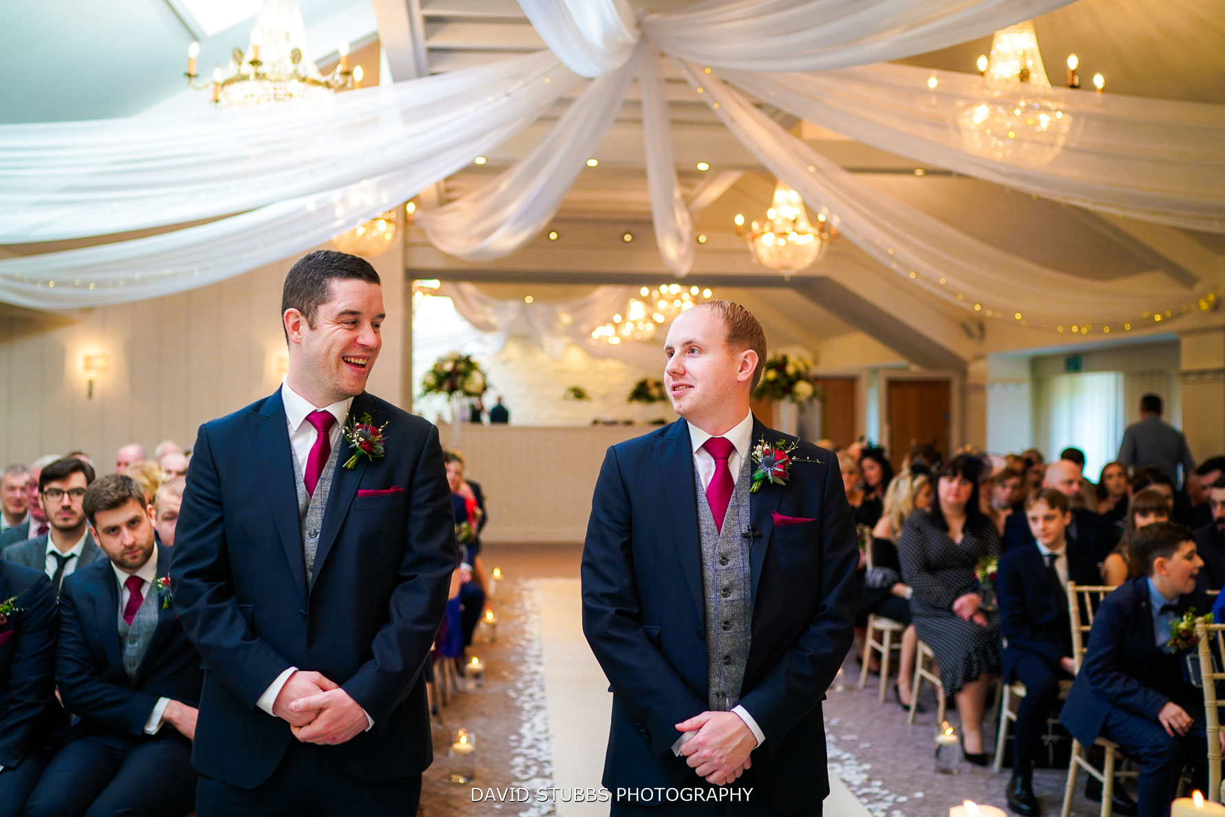 groom waiting for his bride with the best man