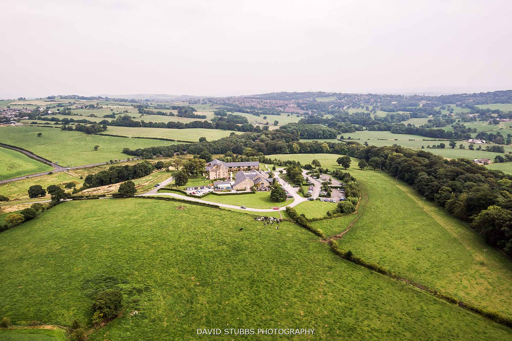 Stanley house from the air, helicopter or drone