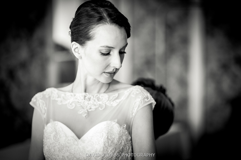 stunning bridal portrait in black and white