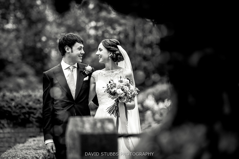 black and white photo of wife and groom
