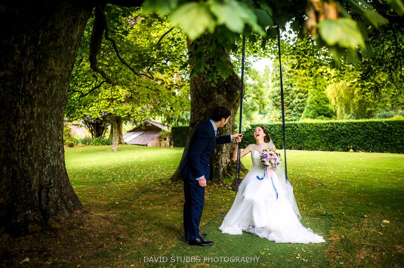 bride sat on swing