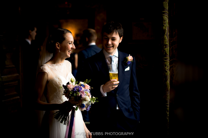 contrast photo of bride and groom