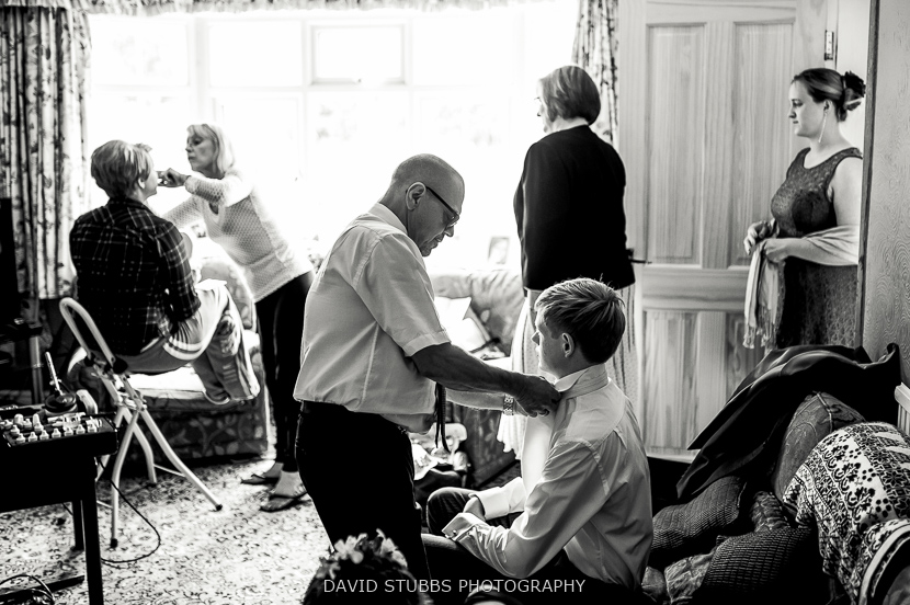 family getting dressed