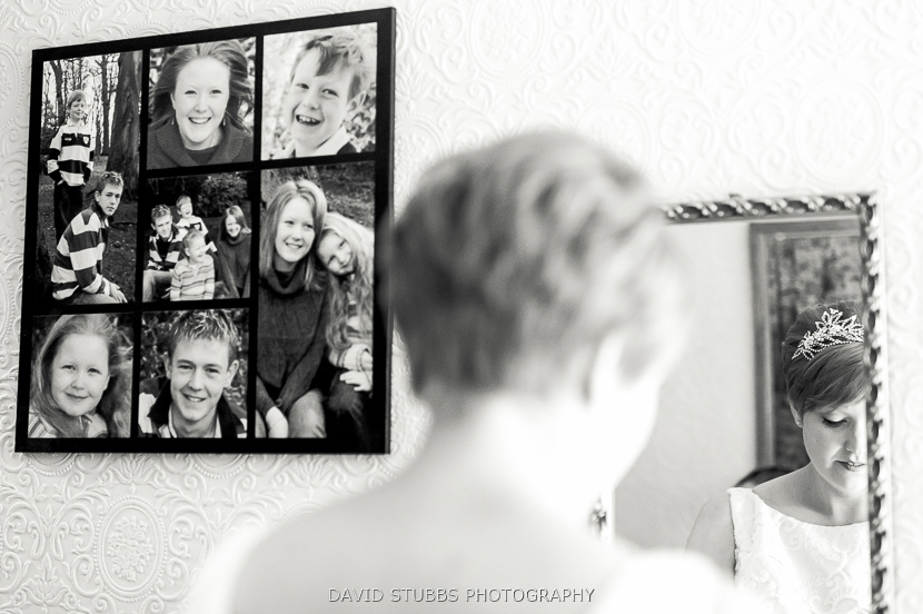 photos on wall black and white