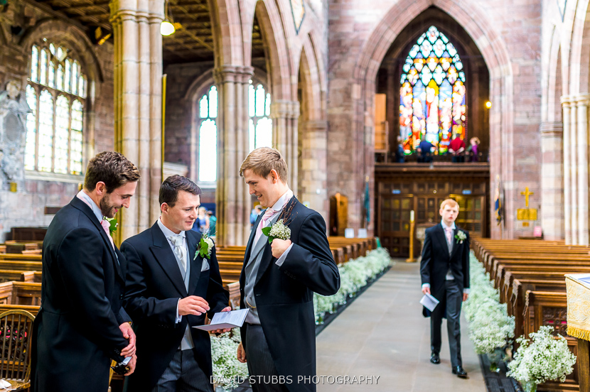 groom and men in church