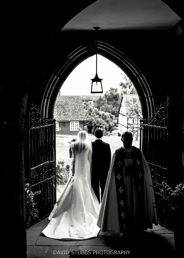 married couple leaving church