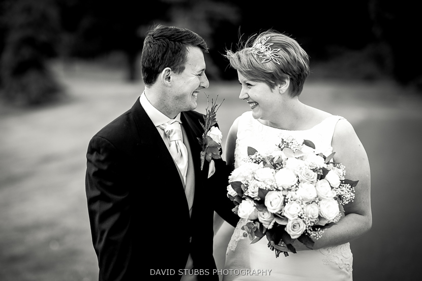 black and white photo newly married couple
