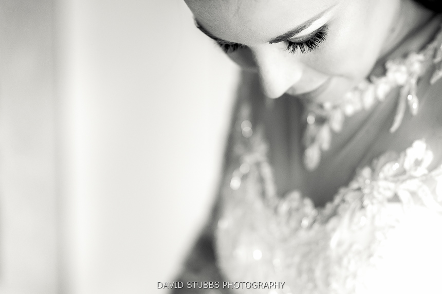close up of bride in dress