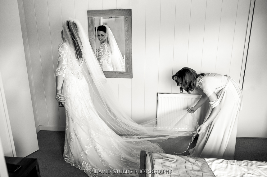 bride in veil black and white