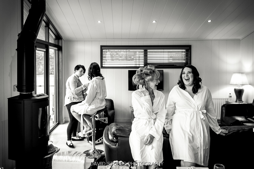 bridal party getting dressed
