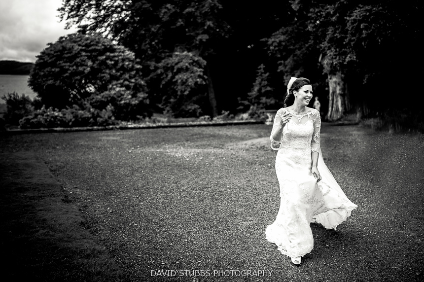bride in gardens black and white