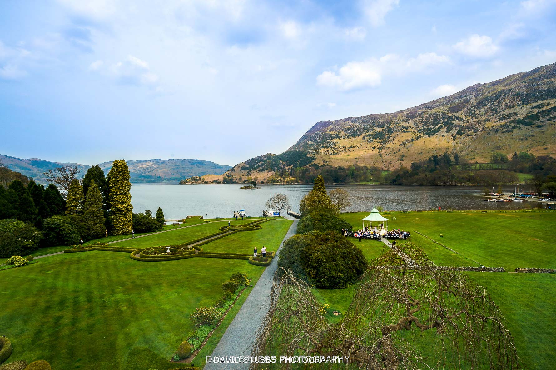 view from high up with views over ullswater wedding photo