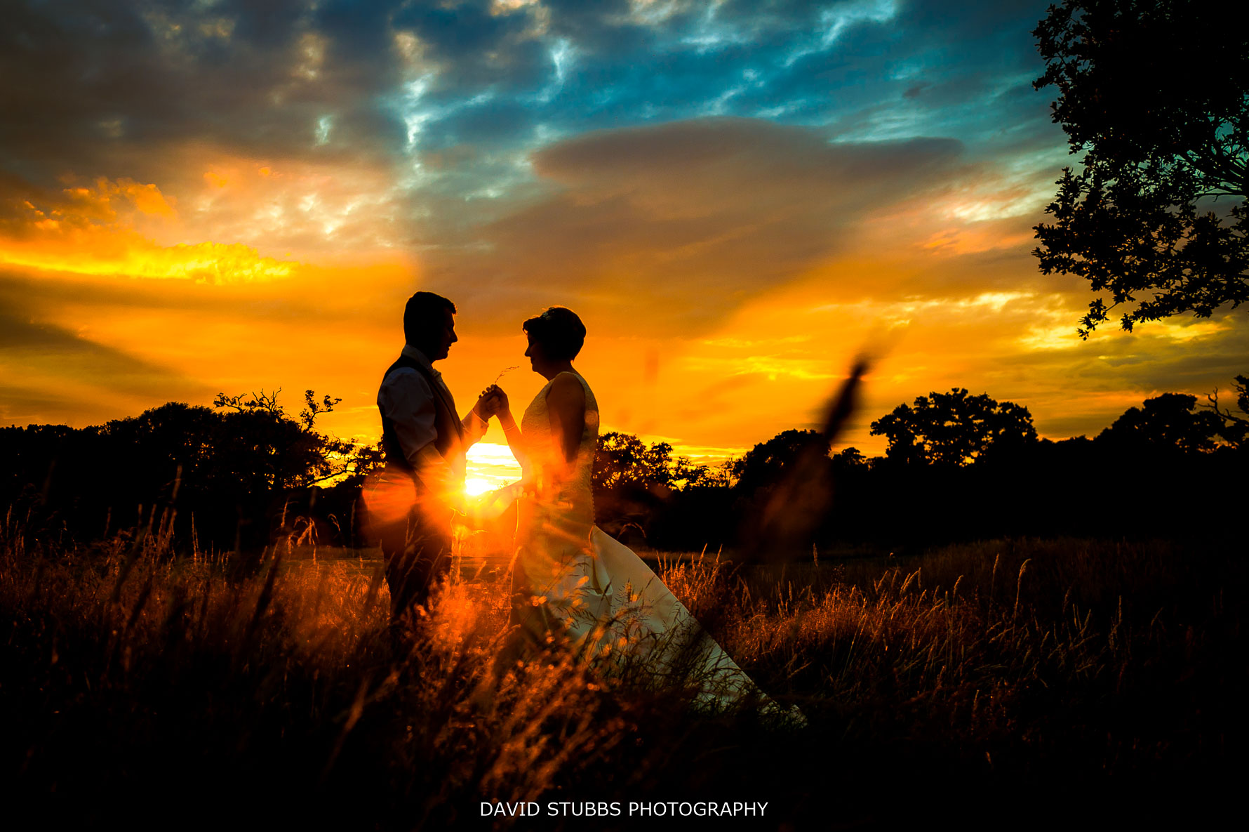 sunset photo at Carden park wedding