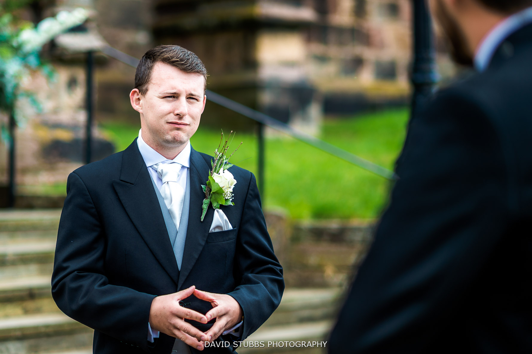 nervous groom at the church